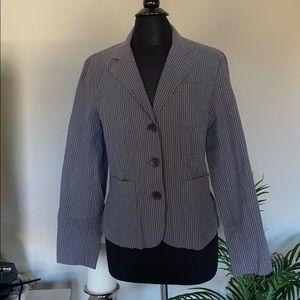 Talbots stretch gray pinstripe blazer size 10